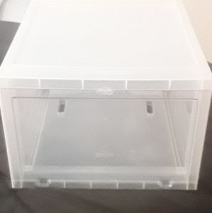 Clear shoe boxes (The container store)